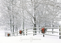 Holiday Fence Winter Scene Christmas Cards